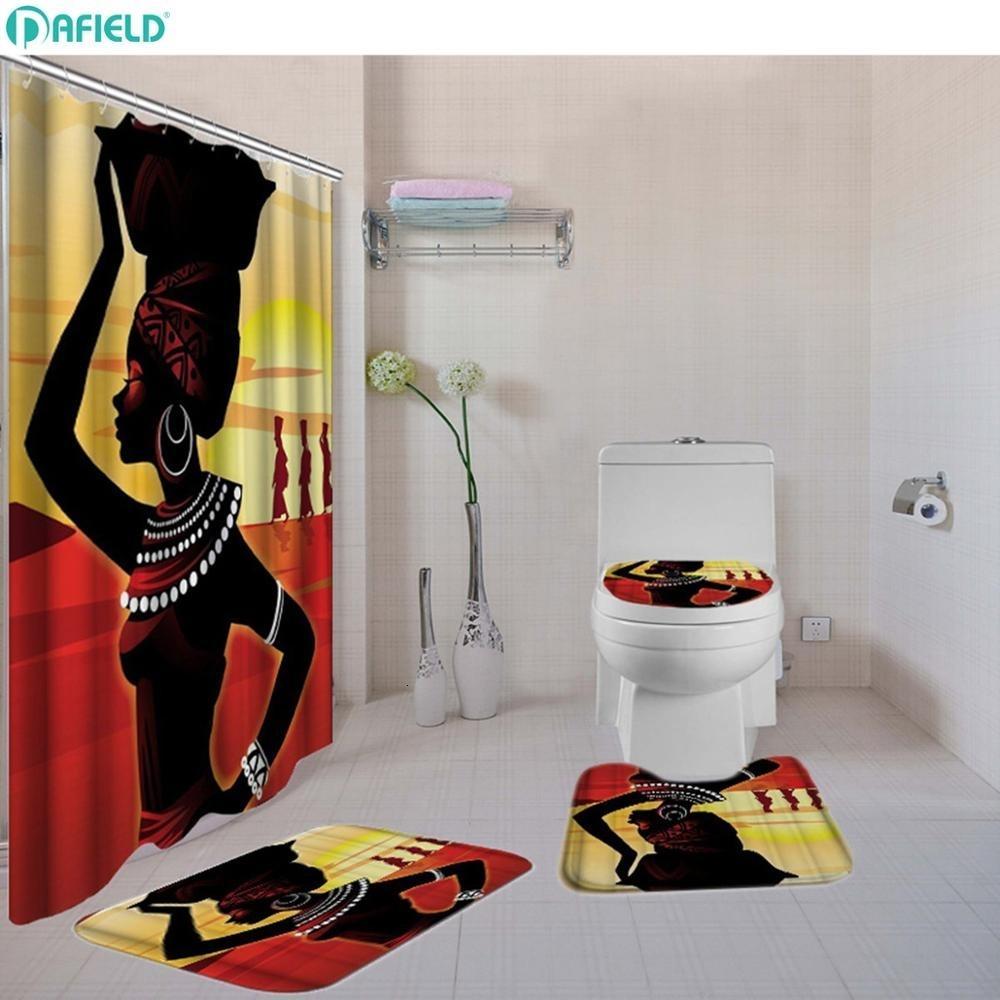 4-Piece African Girl Printed Bathroom Rug Shower Curtain Mat Set Non Slip Shower Mat /& Contour Rug /& Toilet Lid Cover /& Shower Curtain 4 Pcs Set Home Bathroom Decor