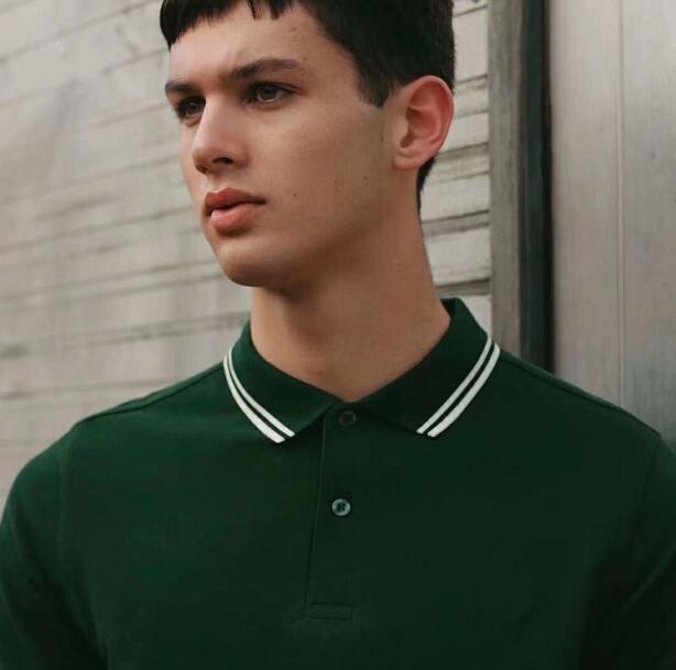 الرجال الأخضر الصلبة قمصان بولو فريد ليف التطريز التوأم t-shirt القطن بأكمام قصيرة لندن بولو تيس بيري تيز الأسود شحن مجاني