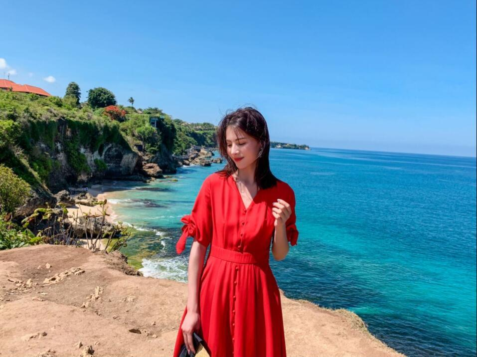 Bali Phuket Hainan falda de la playa de Temperamento Beach Resort falda larga tailandesa auto-cultivo temperamentland recurso rojo vestido de Mar