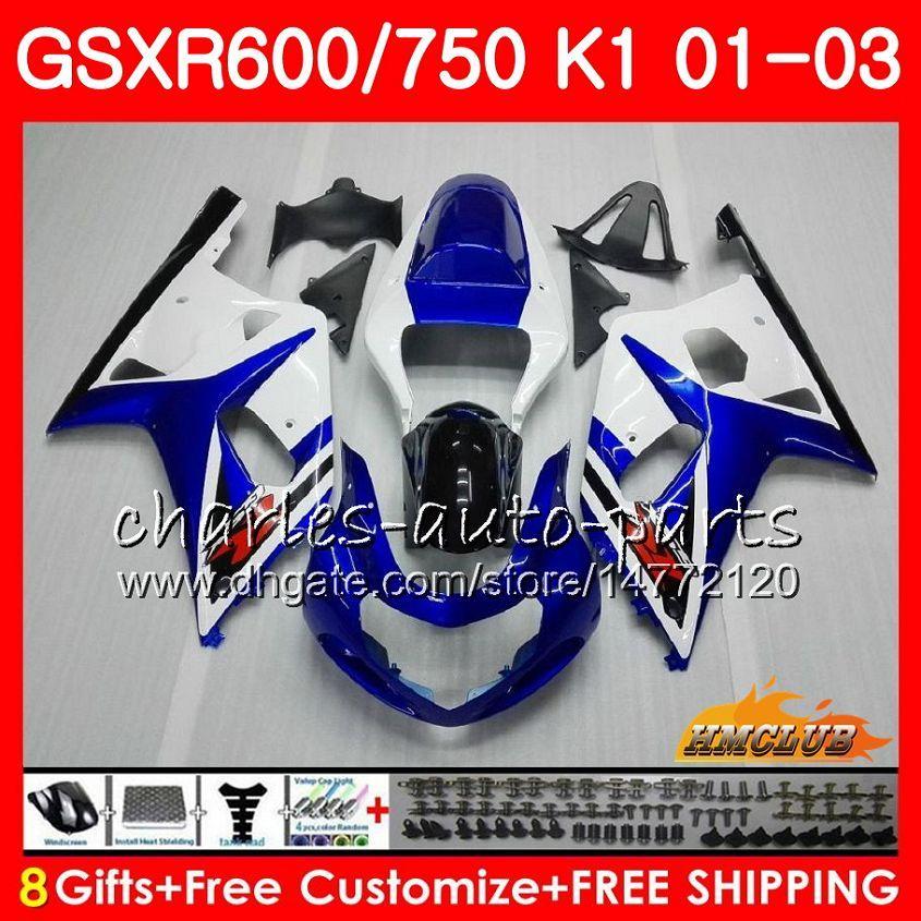 8Gifts тело для SUZUKI GSXR750 GSXR 600 750 GSXR600 01 02 03 4HC.6 GSXR600 K1 GSX R750 GSXR750 Синих белых новый 2001 2002 2003 обтекатель комплект