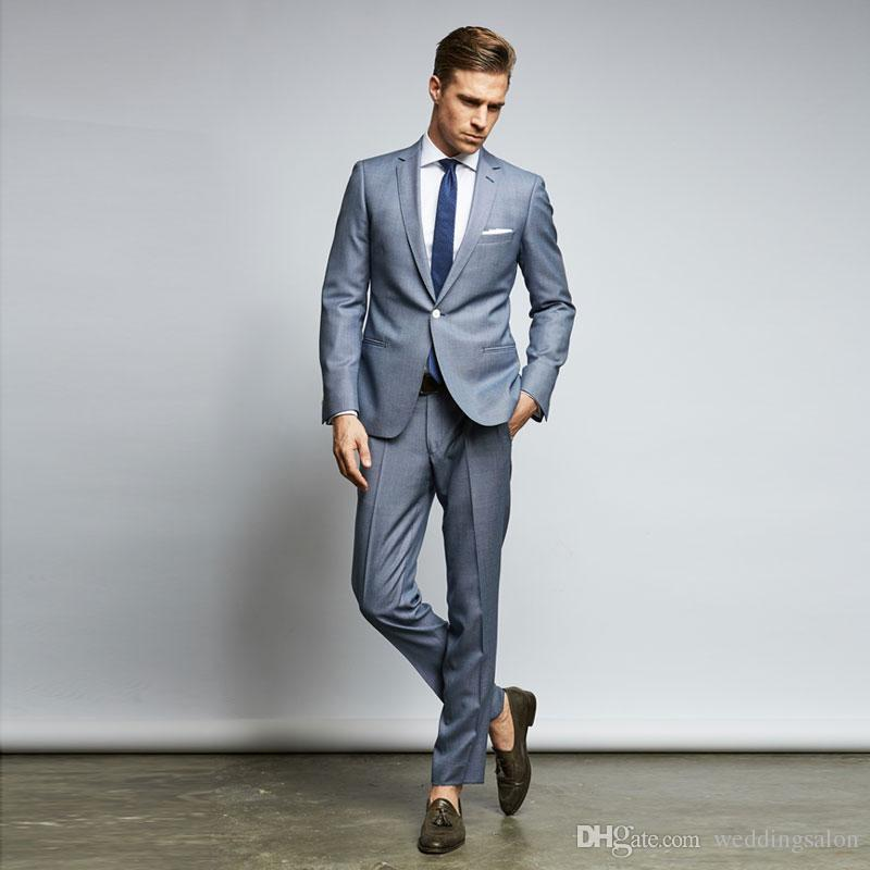 Classy Cheap Mens Suits Slim Fit Nothced Lapel Wedding Suits For Men With Jacket And Pants Designer Groom Tuxedos Two Pieces Blazers