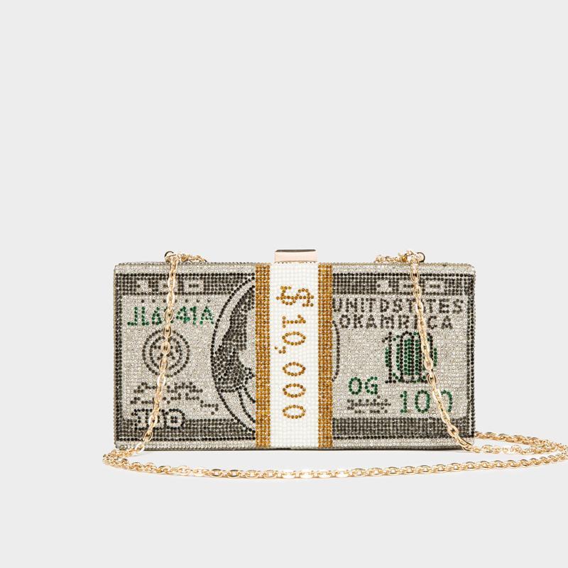 Pile de billets $ 100 Dollars Sac argent Sac de cristaux pour les femmes 2020 Les femmes de cristal d'embrayage Sacs Soirée Dîner et sacs à main