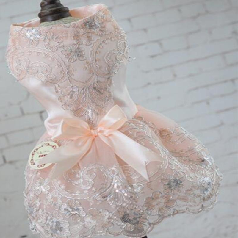 Прекрасные Вышитые Розовые Платья Для Собак Свадебное Платье Принцессы Для Собак Зоотовары
