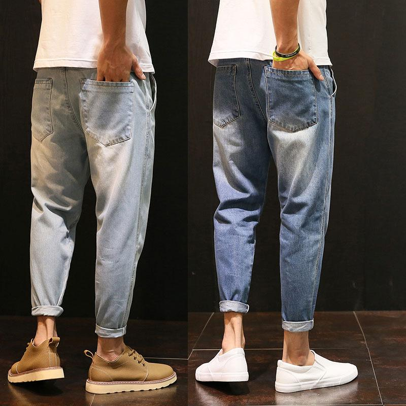 Men's Jeans High Quality 2021 Spring Summer Casual Washing Vintage Hip Hop Student Teenagers Thin Men Loose Harem Pants Male