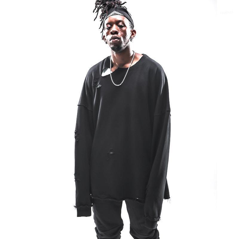 2019 Nouveautés Vintage Distressed Ripped Destroyed surdimensionné Hoodies Hommes Hipster trous Swag Streetwear Sweat Hoodie1