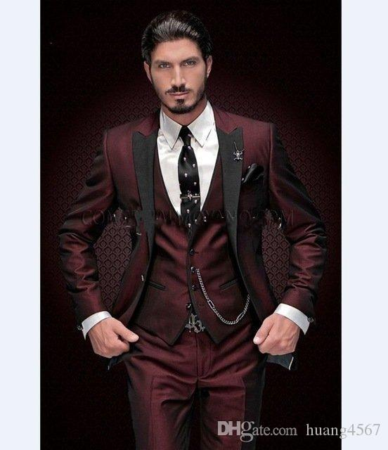 새로운 슬림 맞는 버튼 하나 부르고뉴 웨딩 신랑 턱시도 피크 옷깃 Groomsmen 남성 복장 브라 팬 (재킷 + 바지 + 조끼 + 넥타이) 187