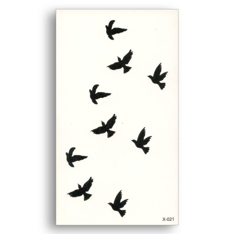وهمية الوشم نقل المياه ملصقا نمط صغير الطيور السوداء النساء الجمال بارد فتاة الجسم فن لايف من أغنية