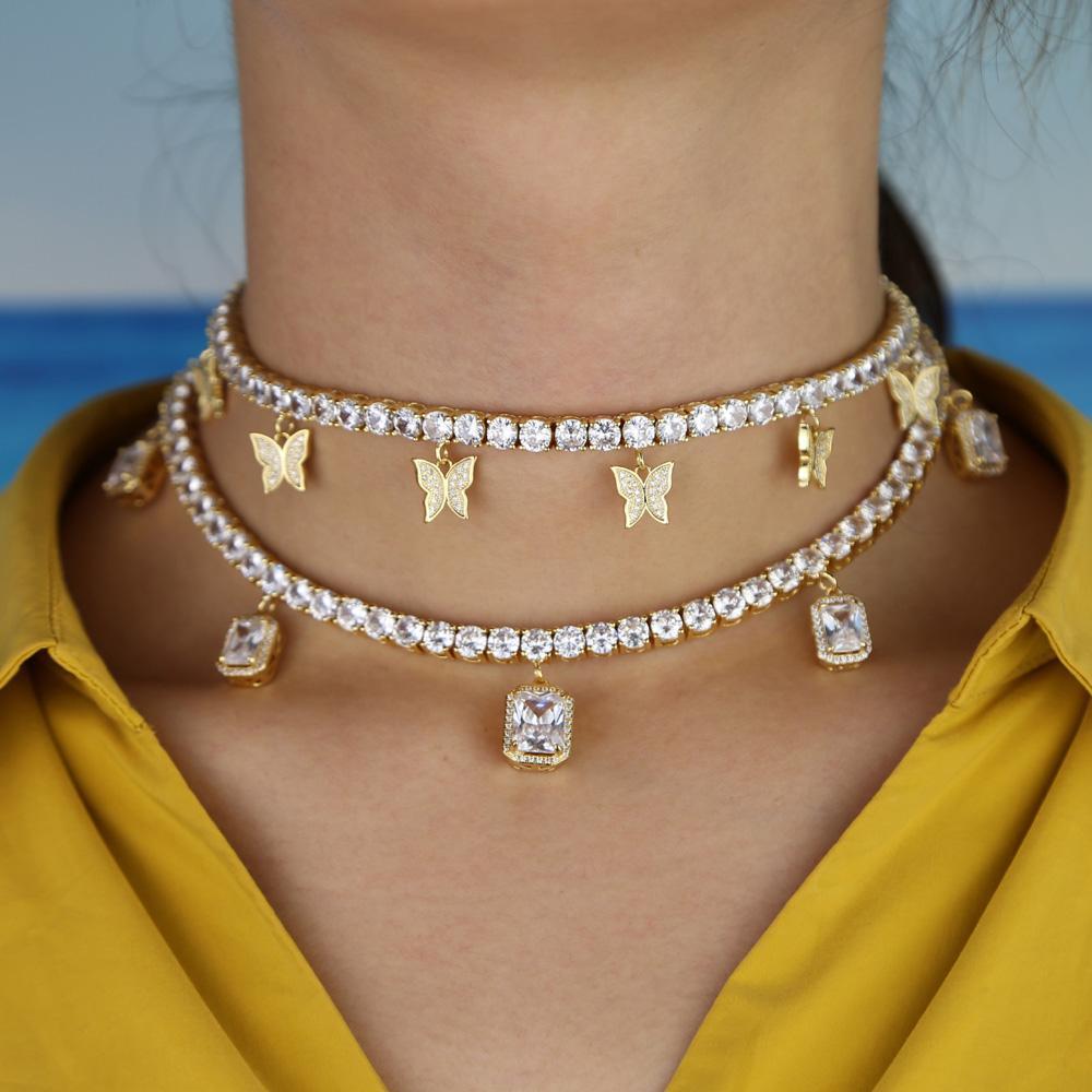 Completa cúbicos zircônia elegância gargantilha de luxo colar de baguette mf borboleta charme 32 + 10 centímetros para fora congelado cadeia de tênis de jóias mulheres