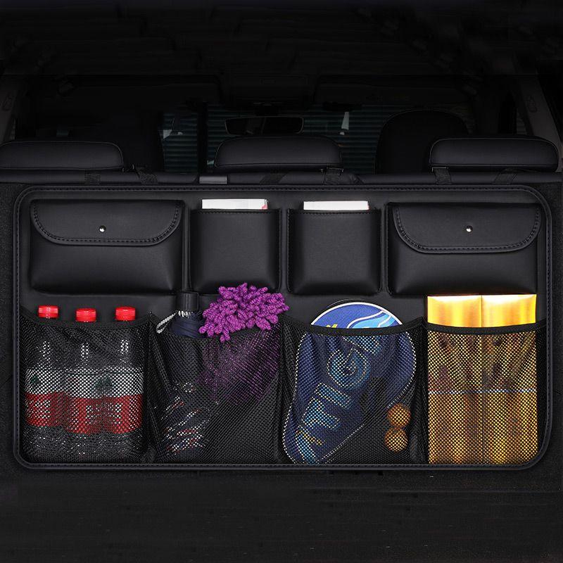 جودة الجلود سيارة المقعد الخلفي حقيبة التخزين الخلفي شنقا شبكة شباك الجيب جذع حقيبة منظم لوازم السيارات stowingtidying