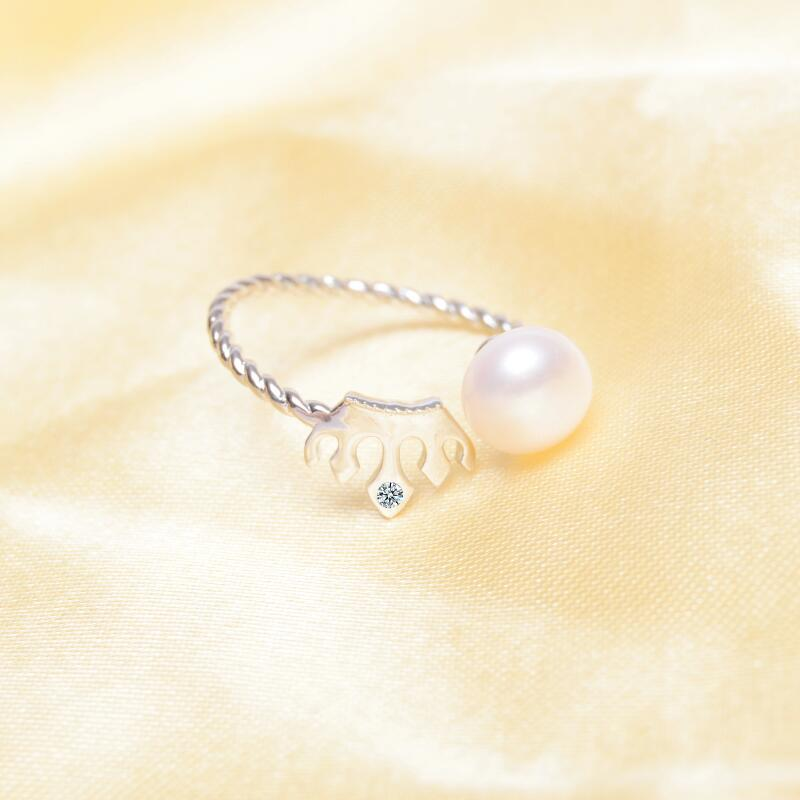 ASHIQI Solid 925 Sterling Silver ring crown Natural Freshwater Pearl Rings women Fashion Party Pearl jewelry