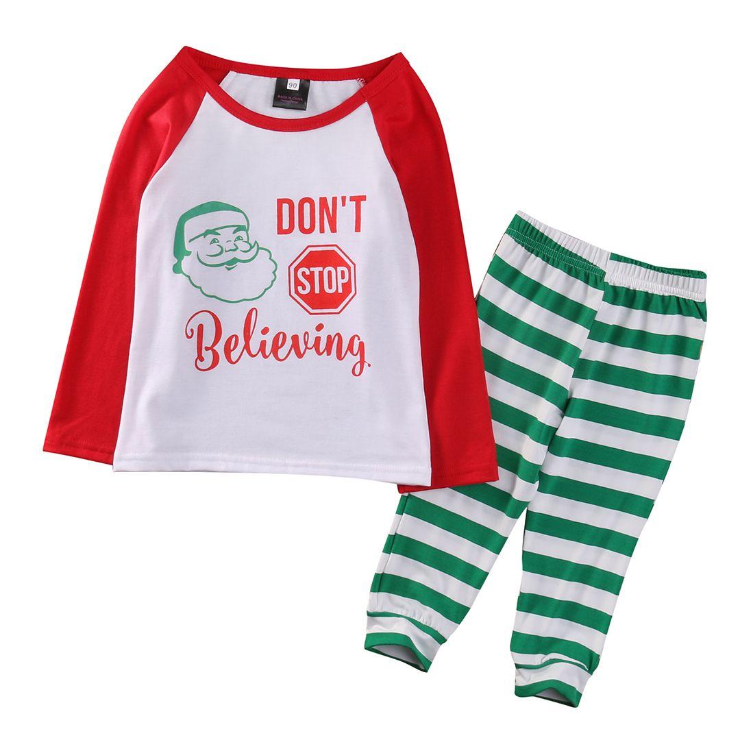 X-mas Christmas Striped Nightwear Winter Baby Kid Boy Girl Pajamas Set Sleepwear