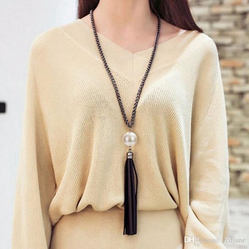 Nouvel arrivage de gros Tassel Pendentif chaîne Pull bijoux long collier de perles de mode cadeau pour les femmes Livraison gratuite