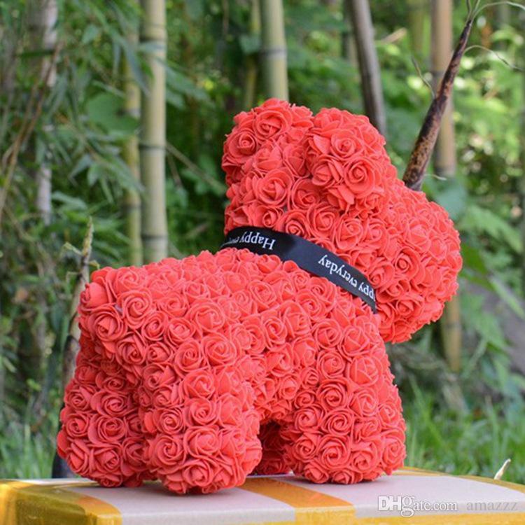 Sıcak Satış Köpek Gül Sabun Köpük Çiçek Yapay Yeni Yıl Hediyeler Kadınlar Için Sevgililer Hediye Kutusu Ile