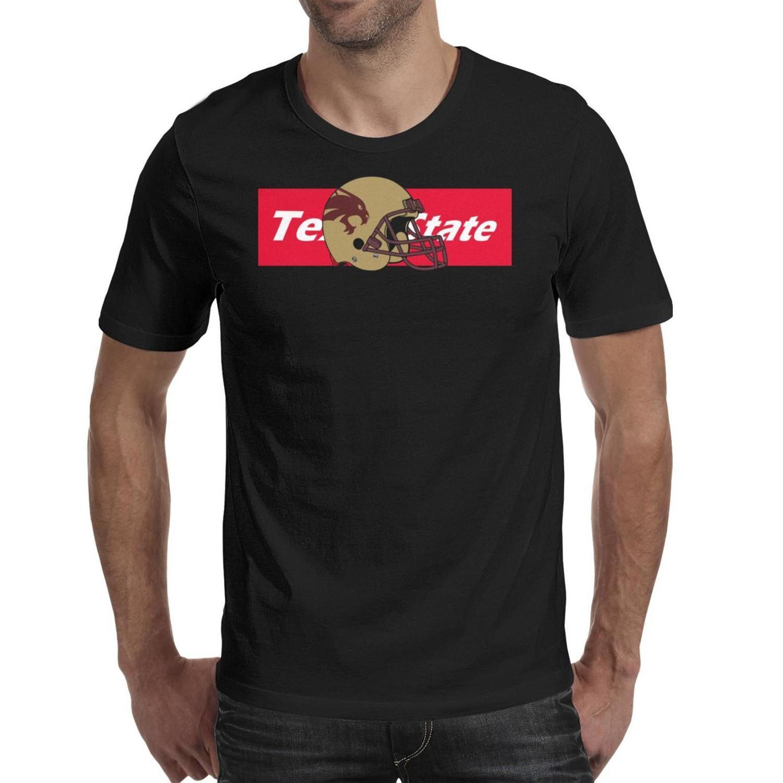 Мужская печать Texas State Bobcats футбол графика черная футболка Дизайн Slim fit Сумасшедшие рубашки Вечеринка университетская одежда Серый камуфляж