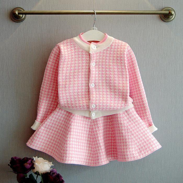 Children's Clothes Girl Plover Grid Knitting Suit Children Long Sleeves Sweater Cardigan Skirt 0201