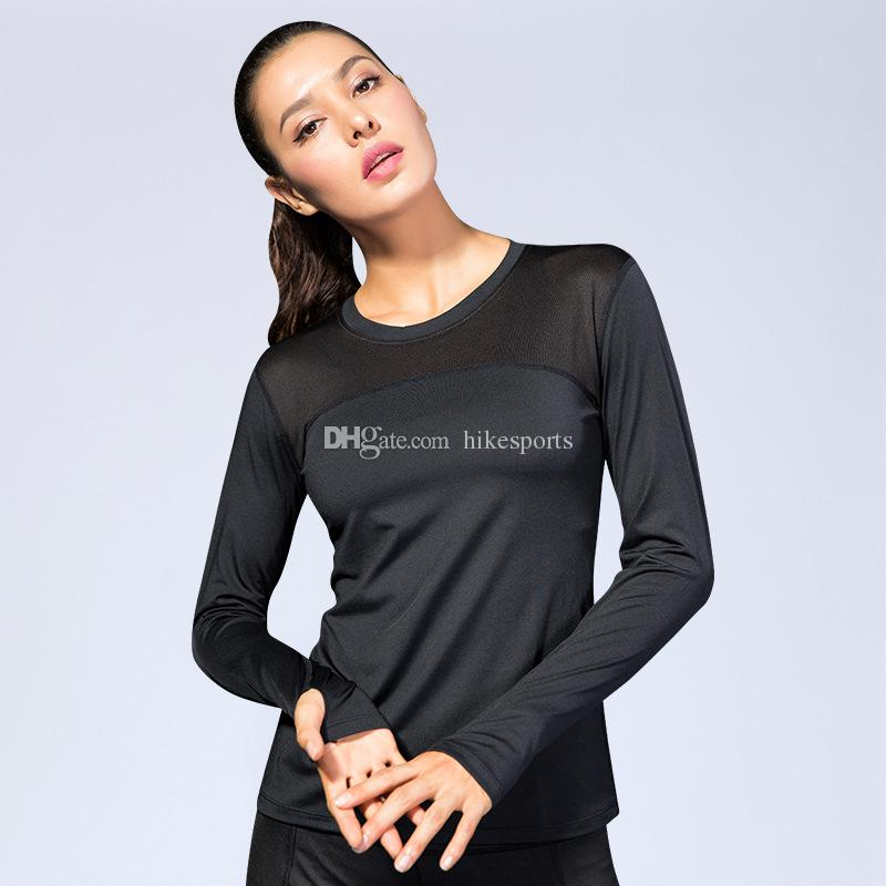 Women Running Exercise Long Sleeves Yoga T Shirts Tops Fast Dry Mesh Splicing Compression Tights Fitness Training Sports Shirt Ladies Blouse
