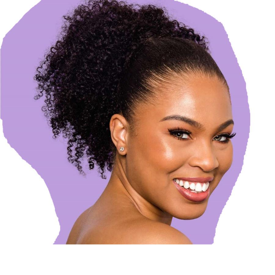 100 Human hair ponytail Easy drawstring 4A texture Clip in coily afro kinky curly ponytail fluff go puffs 120g