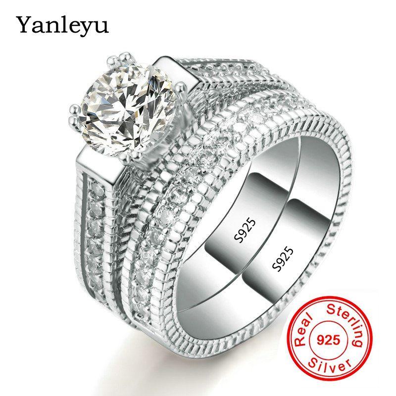 Yanleyu خمر الأزياء والمجوهرات 2 قطع بيور 925 فضة خواتم الخطبة مجموعة مكعب الزركون خواتم الزفاف للنساء PR200