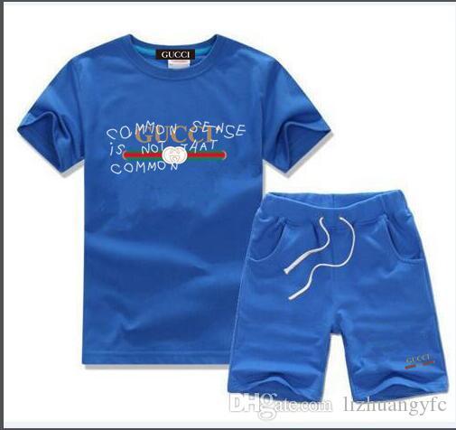 새로운 패션 사진 브랜드 키즈 아동 T 셔츠와 반바지 바지 어린이 운동복 아동 스포츠 정장 2 PC를 짧은 소매를 설정