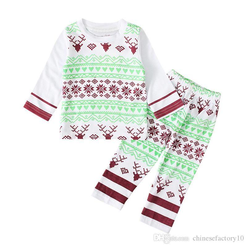 Baby Boys Рождественские elk одежда костюм с длинным рукавом рубашка + брюки 2 шт. Установите одежды хлопчатобумажные снежинки малыша пижама новая осень 2019