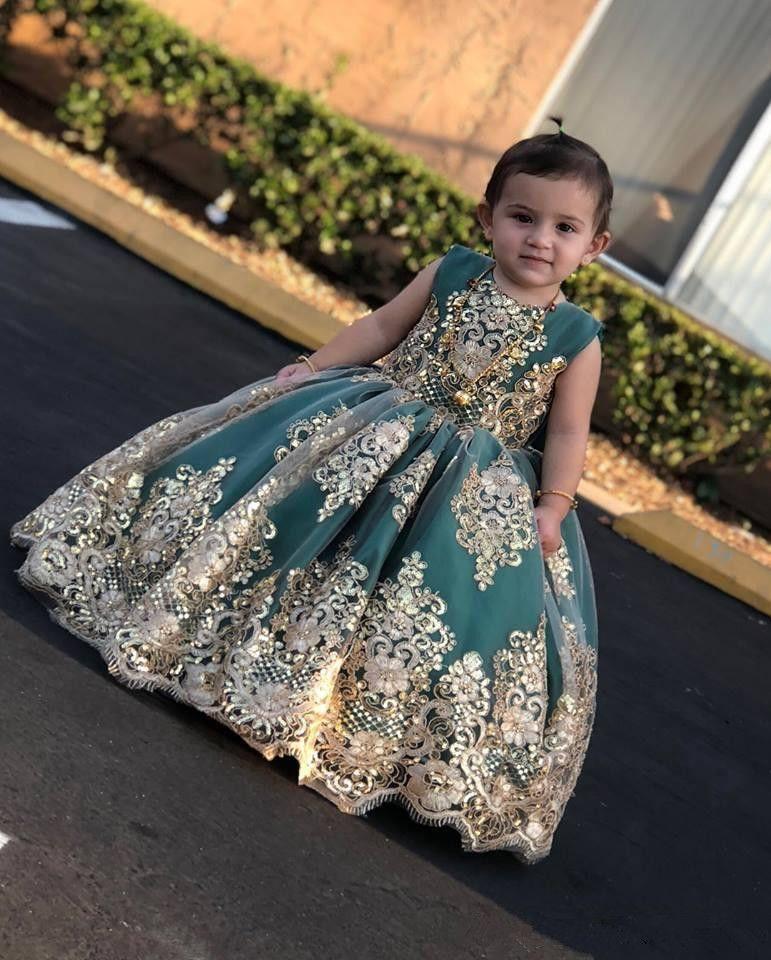 Vendita calda Abiti da cerimonia nuziale del partito del bambino con i vestiti del fiore del collo del gioiello del collo del gioiello di applique per il pavimento lungo dei matrimoni