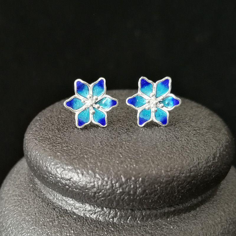Blue Flower 999 Sterling Silver brincos para mulheres pequeno Studs Brincos Handmade Luxury Jewelry Cloisonne Esmalte V191128 étnico