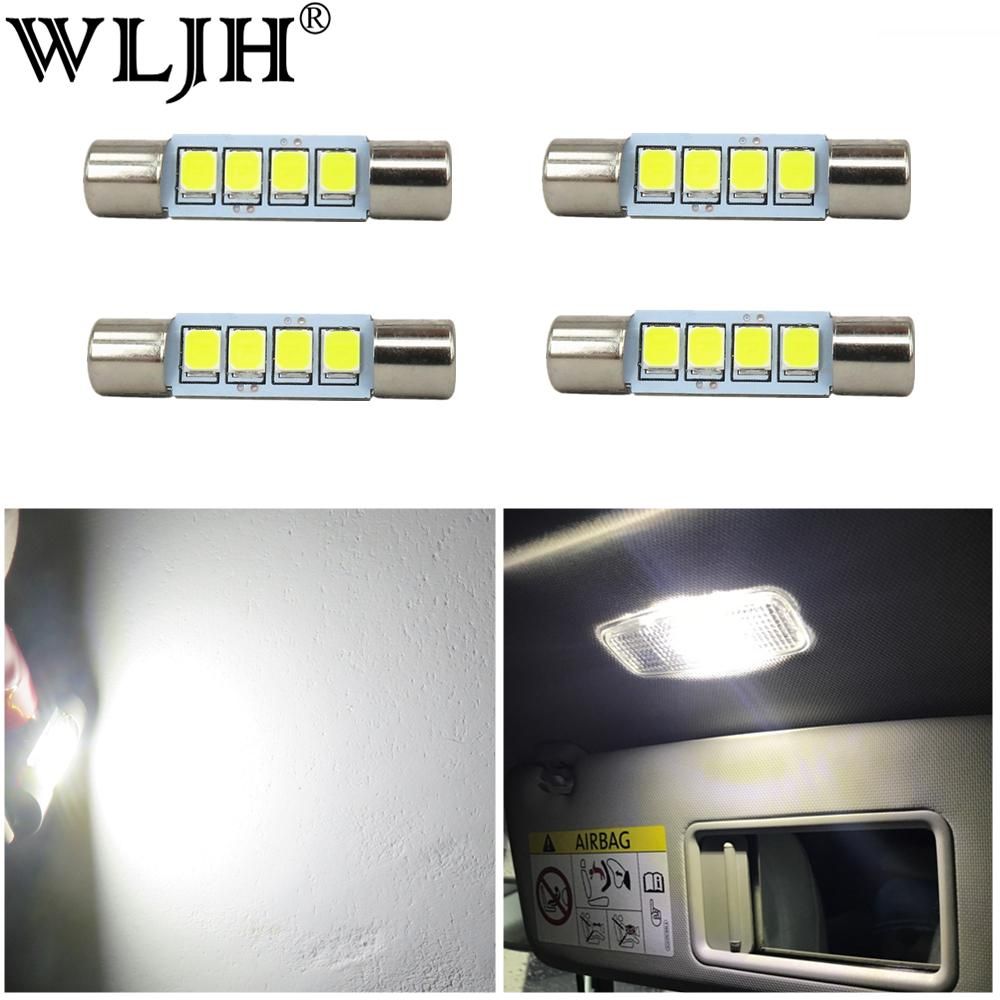 WLJH 4x Beyaz 2835 Cips 28mm 29mm Festoon Led Ampul Araba İç Makyaj Ayna Güneşlik Kubbe Harita Lights için 4-SMD 6614F 6612F