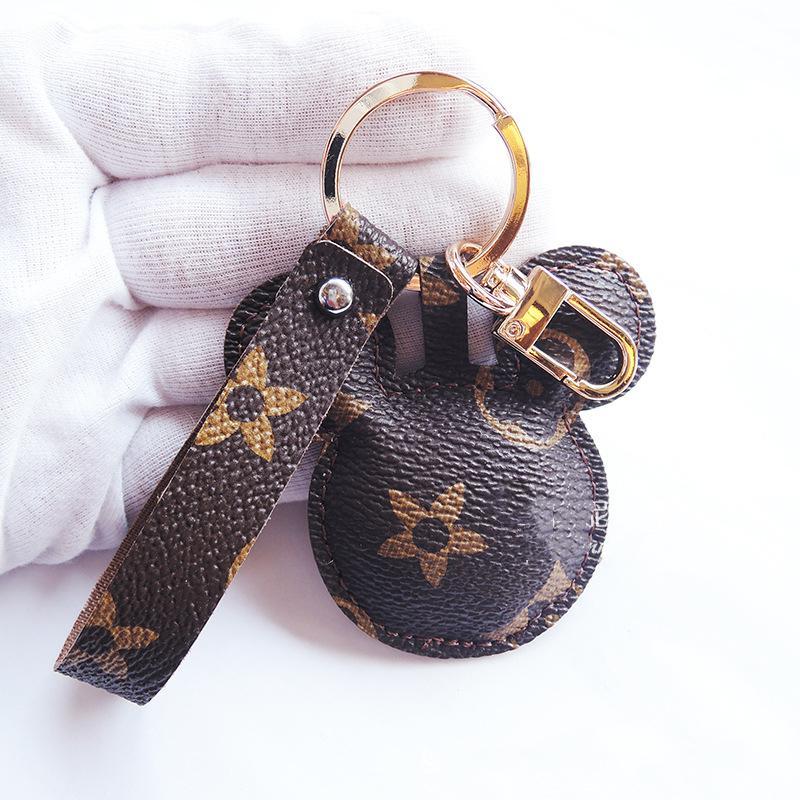 Mode Maus Designer Schlüsselanhänger Zubehör PU-Leder-Tier-Blumen-Druck-Anhänger Taschenanhänger Schlüsselanhänger Ring Netter Auto Keyrings Halter