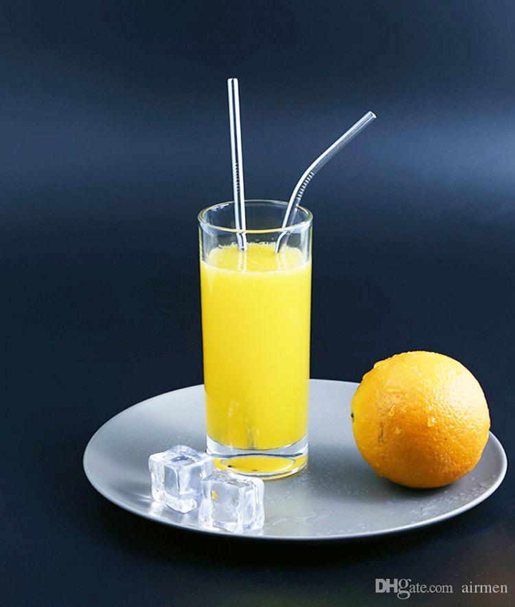 새로운 마시는 빨대 튼튼한 스테인레스 스틸 스트레이트 마시 스트로 금속 바 가족 주방 머그잔 컵