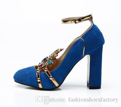 navy suede block heel shoes