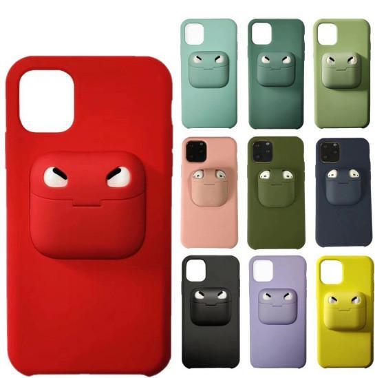 Con auriculares Caja de almacenamiento de silicona líquida teléfono celular 2 en 1 caso para Airpods Pro 1/2 iPhone SE 2020 11 Pro Max XS XR Max 8 7 6 Plus con la caja