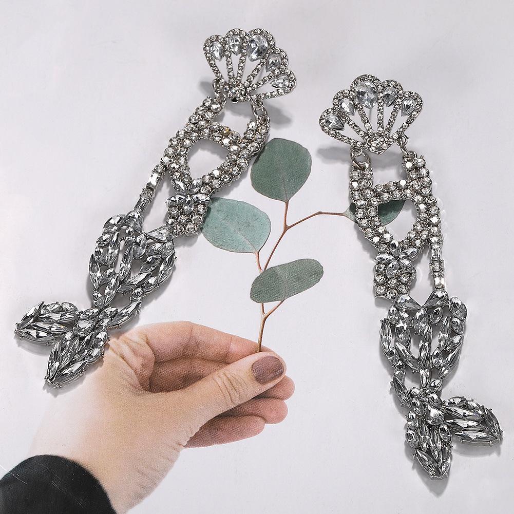 Оптово-дизайнер преувеличена прекрасный милый океан хвост рыбы сверкающих алмазов красочный кристалл длинные висячие серьги стержня для женщин девочек
