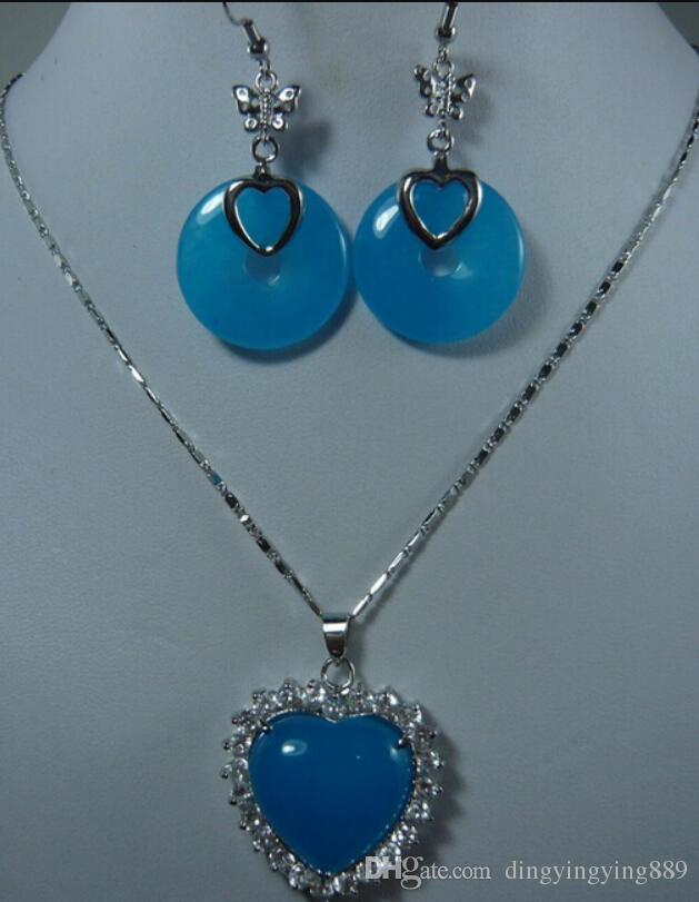 joalharia 2 opções atacado jade azul bonito brinco e coração de ouro / prata placa