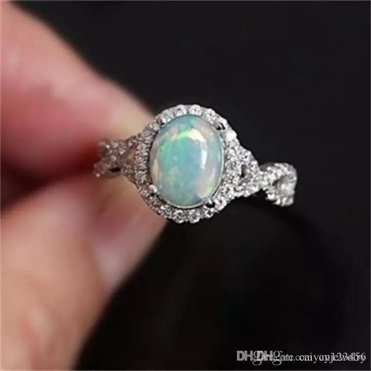 Серебро Заполнены Белый Огонь Опал Сердце Кольца Для Женщин Старинные Мода Свадебные Украшения Камень Кольцо
