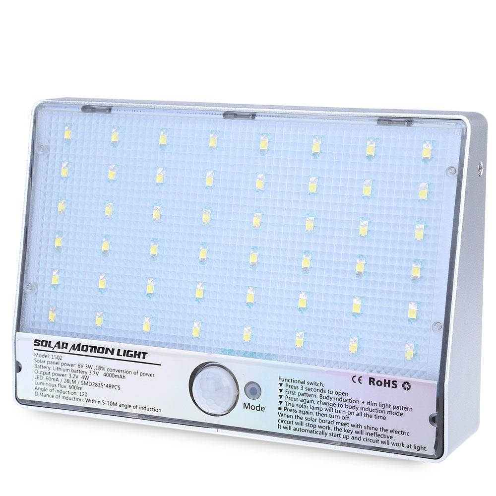 48 LEDs Solar Powered Bewegungssensor Lampe Wasserdichte 3,2 V 4 Watt 600LM Outdoor Straßenlaterne für Home Outdoor Dekoration und Sicherheit