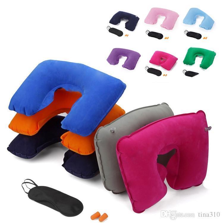 수면 에어 쿠션 베개 IC517을위한 비행기 여행 풍선 목 베개 여행 용품 베개 용 풍선 U 모양 베개