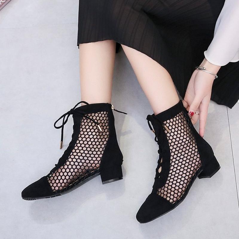 Scarpe Moda Donna Estate Stivaletti Mesh Heels Sexy Medio signora Platform Pumps Lace Up scarpa femminile