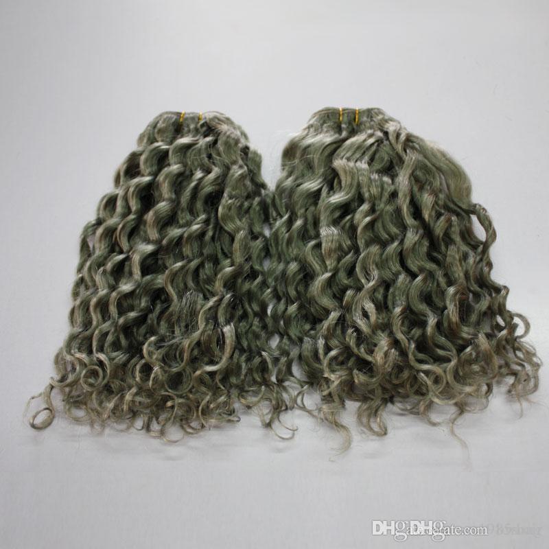 회색 색상 딥 웨이브 브라질 인간의 머리카락 곱슬 300g 7A 브라질 곱슬 회색 머리 Weft 번들 확장