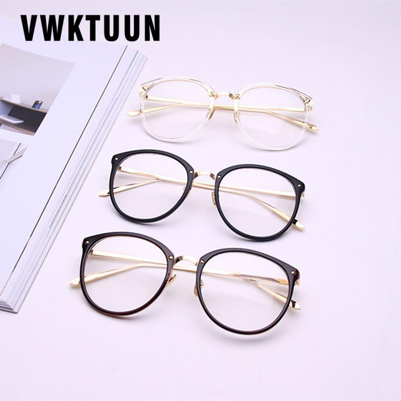 Vwktuun خمر النساء نظارات إطار رجل الذهب معدن النظارات إطار الرجعية كبيرة واضح عدسة النظارات البصرية مشهد جديد