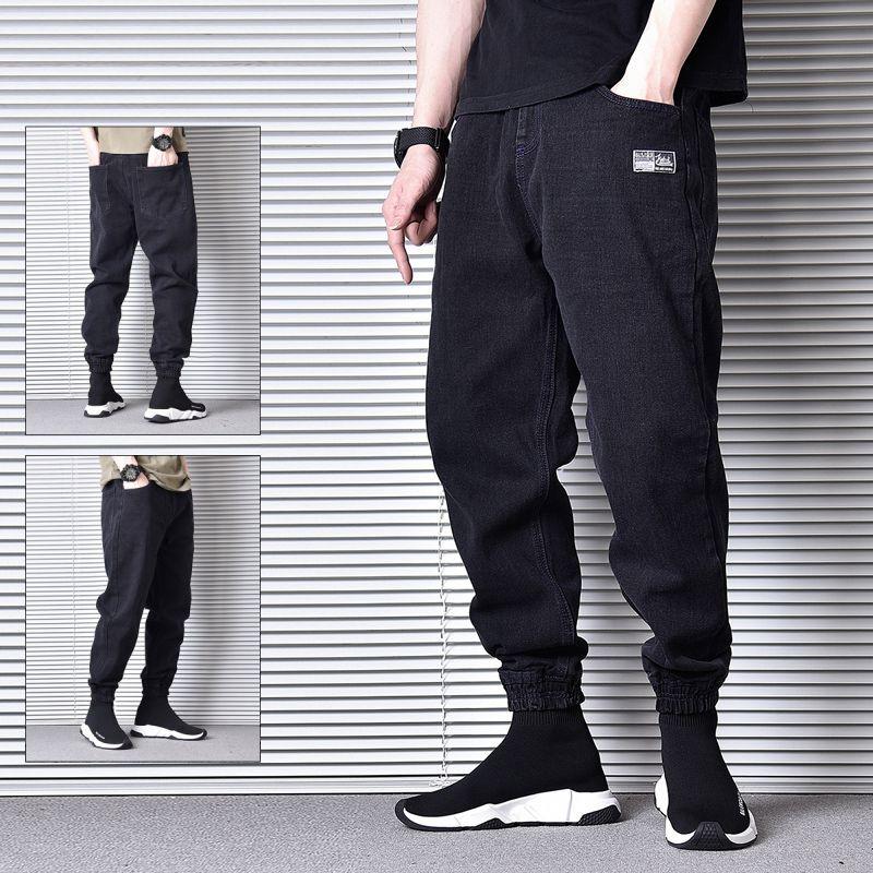 Erkek kot japon tarzı moda erkekler siyah renk gevşek fit denim kargo pantolon vintage tasarımcı hip hop sokak joggers