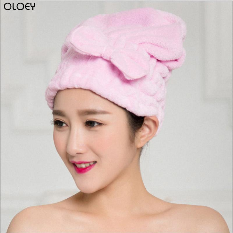 OLOEY Hair Cap Shower Cap Microfiber Flannel Dry Hair Fast Ladies Soft Shower Hat Ladies Headscarf Head Cover Bathing Tools