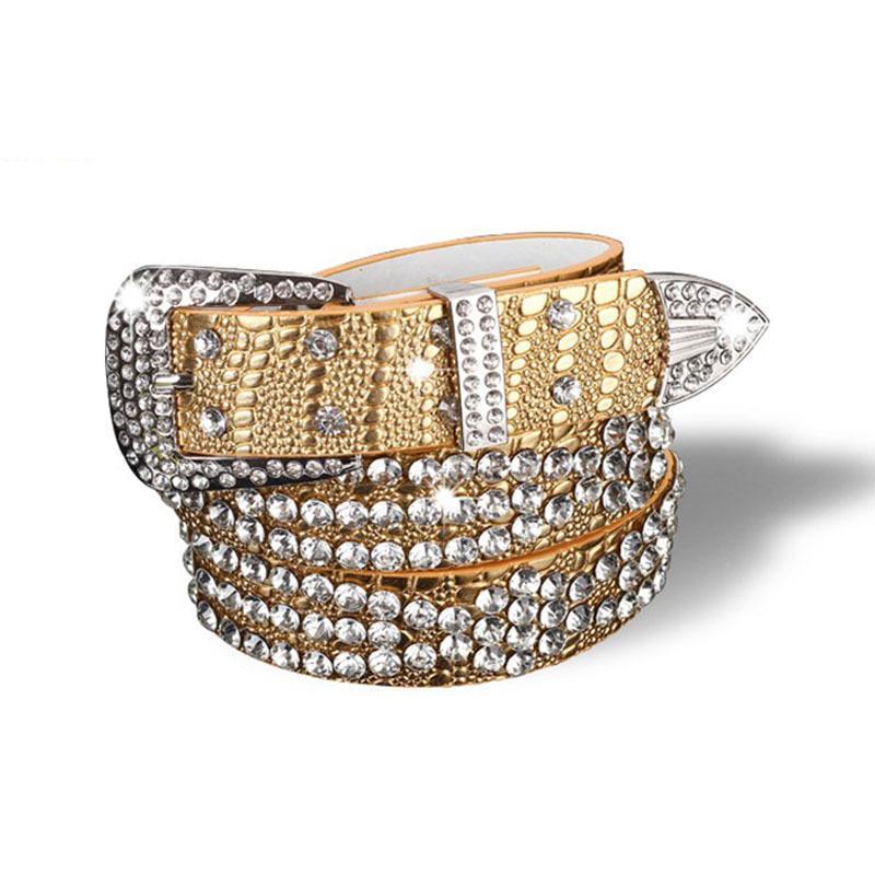 Lujo de las señoras diseñador diamantes de imitación correas anchas sólido de cuero de vaca correa para las mujeres la manera del leopardo de cristal brillante Jeans correa Y191218