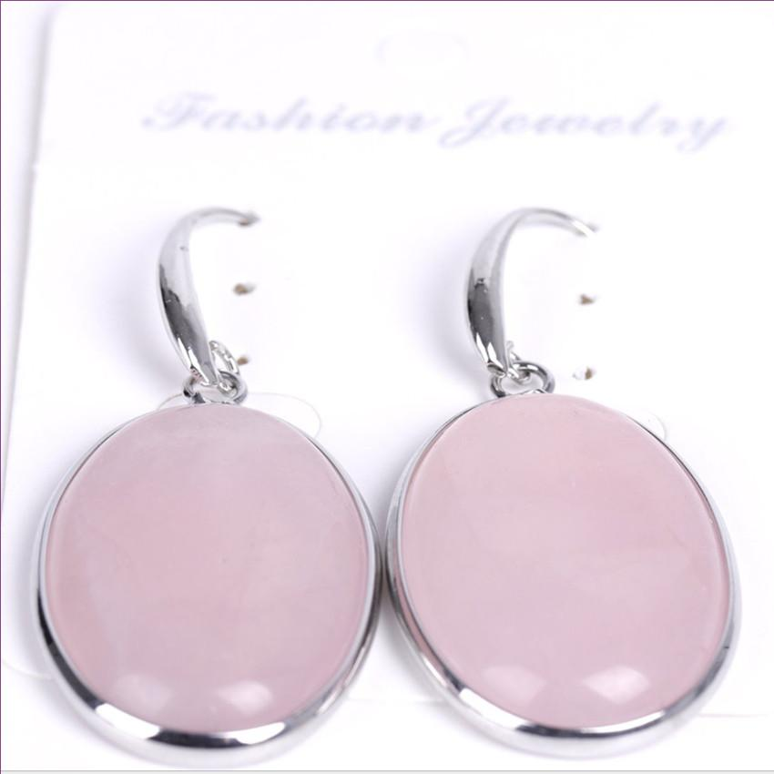Wholesale 10 Pairs Silver Plated Oval Shape Blue Sand Stone Dangle Earrings for Women Rose Quartz Jewelry