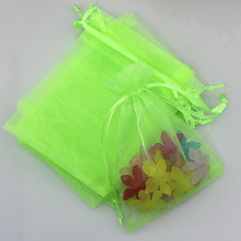 9x12 cm 100 pcs Luz Verde Cordão Organza Embalagem Saco Presentes Beads Jóias Doces Bolsas De Armazenamento para o Casamento Festa de Natal