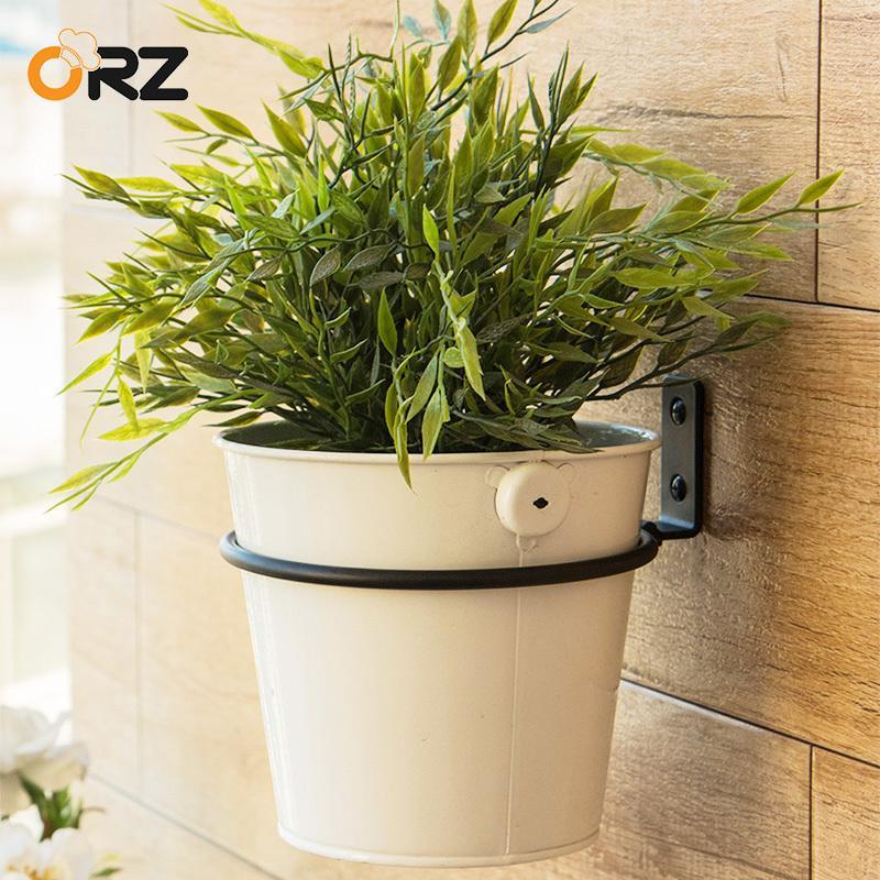 ORZ 15cm Wall Folding Flower Pot Trays Metal Pot Ring Holder Flower Planter Tray Stand Bracket Balcony CX200805