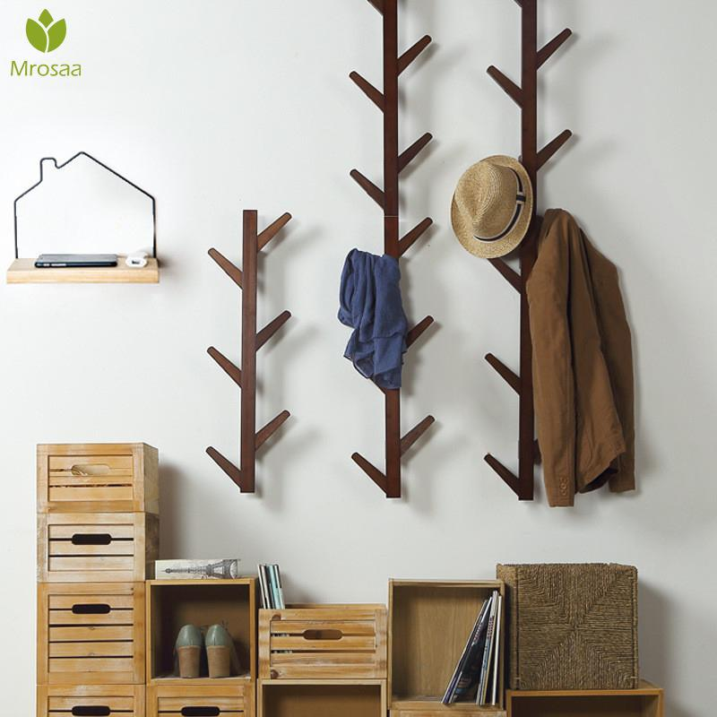 New 6/8 Hooks Coat Rack Wall Solid Wood Wall Hanging Living Room Bedroom Decorative Clothes Rack All Hat Rack Bamboo Furniture T200413