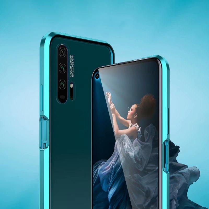 도매 알루미늄 범퍼 전면 후면 투명 유리 럭셔리 전화 케이스 화웨이 명예 20 프로 범퍼 보호 전화 케이스
