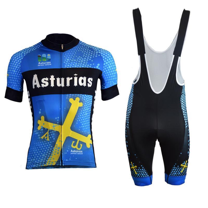 Astúrias novas cycling jersey terno verão kits jérsei dos homens de manga curta de bicicleta wielerkleding trajes ciclismo invierno ciclyng set