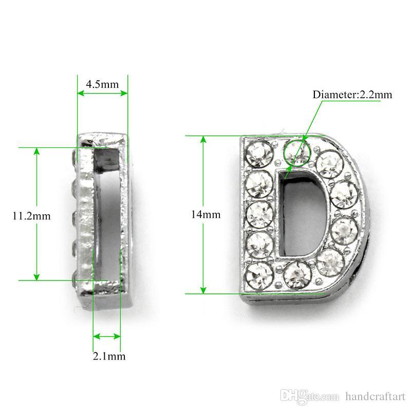 20 PCS A-T Full Strass 10MM Slide Lettres Fit 8 MM DIY Wristbnad / Bracelet LSSL02
