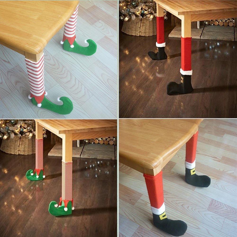 4pcs/Set 꼬마요정 산타자 의자 테이블 다리는 양말 발 덮개 크리스마스 가구 테이블 목제 지면 보호자